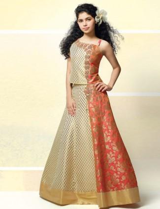 Cream and orange designer wedding lehenga choli