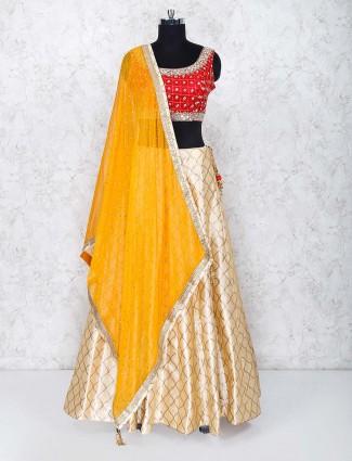 Cream and red cotton silk wedding lehenga choli