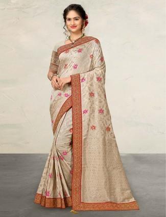 Cream banarasi silk saree in wedding