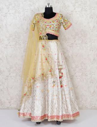 Cream banarasi silk wedding wear lehenga choli