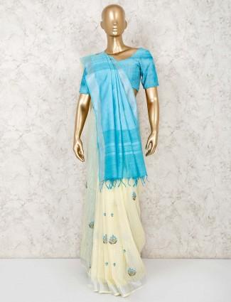 Cream beautiful linen saree