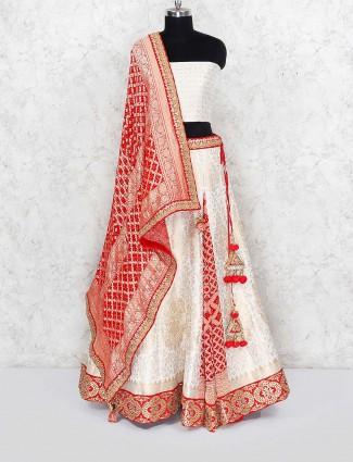 Cream color banarasi silk semi stitched wedding lehenga choli