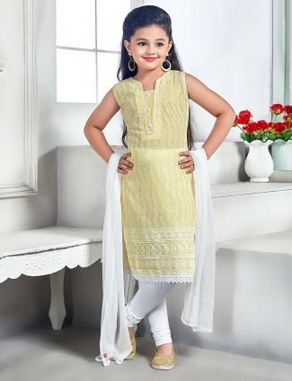 Cream color cotton fabric punjabi salwar suit