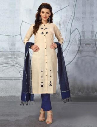 Cream color cotton punjabi salwar suit