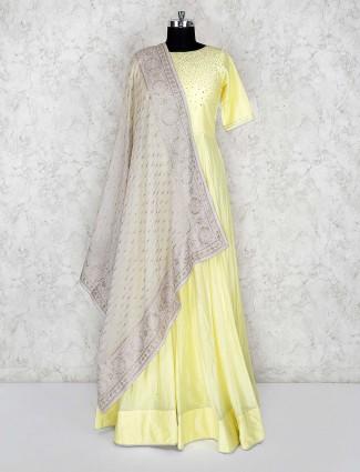 Cream color cotton silk lovely floor length anarkali salwar suit