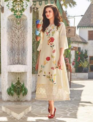 Cream color designer cotton kurti