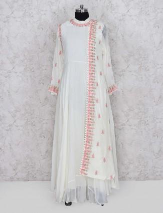 Cream color georgette designer floor length anarkali salwar suit