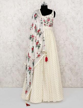 Cream color georgette festive floor length anarkali salwar suit