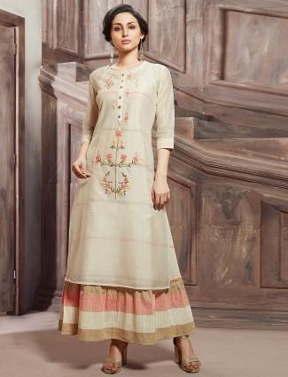 Cream color kurti in cotton