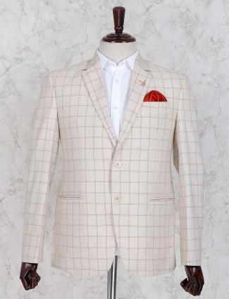 Cream color mens blazer in checks