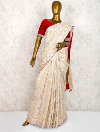 Cream color muga silk lovely saree