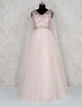 Cream color net floor length gown