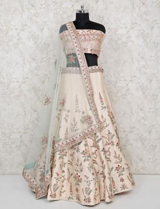 Cream color raw silk beautiful semi stitched lehenga choli