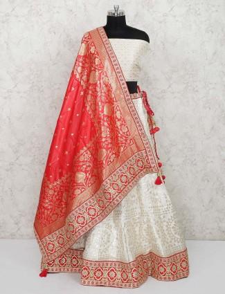 Cream color semi stitched banarasi silk saree