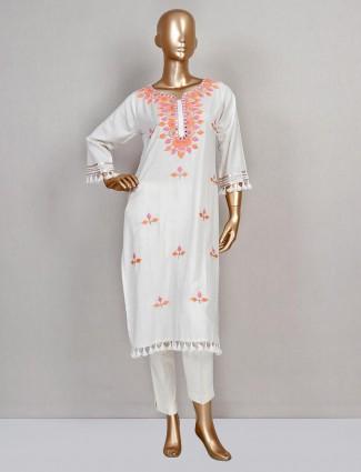 Cream cotton festive exclusive salwar suit