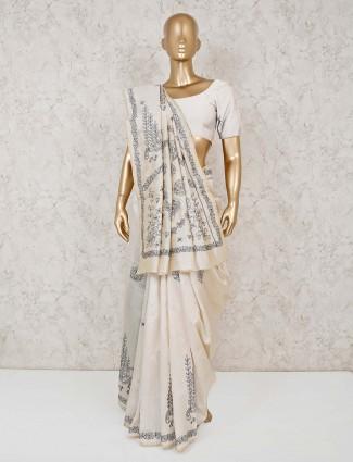 Cream cotton festive saree