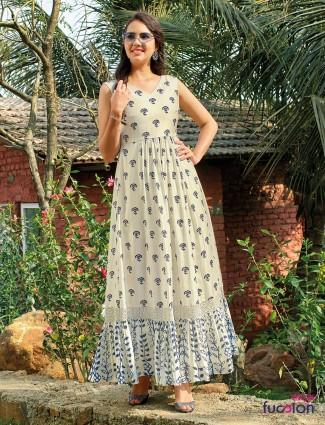 Cream cotton printed mexi dress