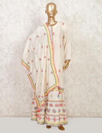 Cream cotton sharara suit for festive
