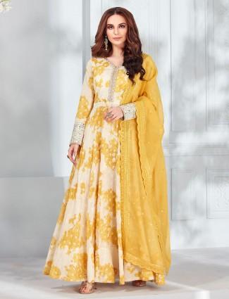 Cream cotton silk floor length anarkali suit