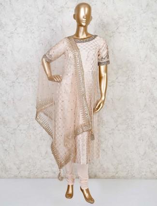 Cream cotton silk party wear punjabi suit