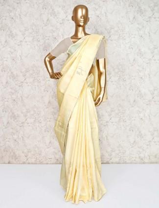 Cream cotton silk saree