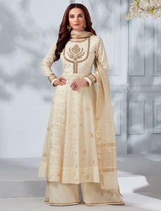 Cream cottons silk festive punjabi palazzo suit
