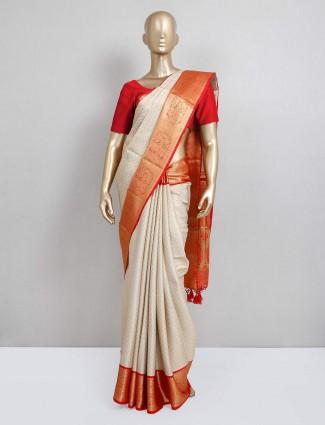 Cream festive wear semi silk sari