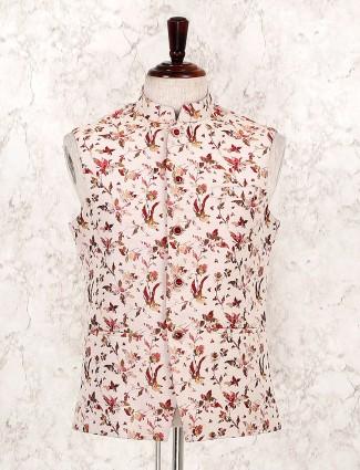 Cream festive wear sleeveless waistcoat