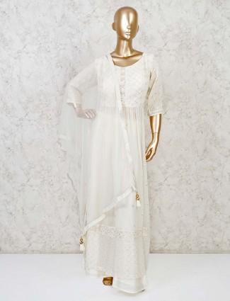 Cream georgette lakhnavi work anarkali palazzo suit
