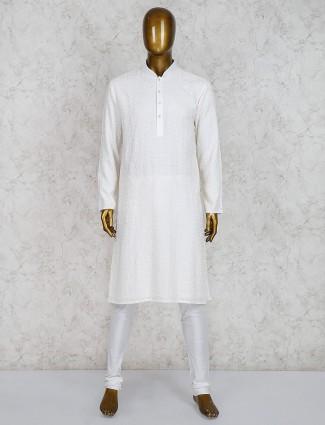 Cream georgette wedding wear kurta suit