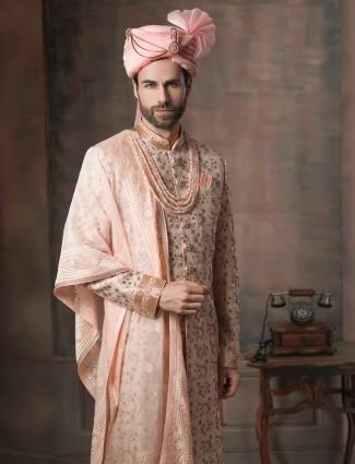 Cream groom sherwani with dupatta in silk fabric