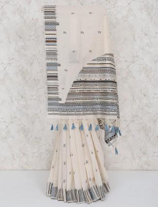 Cream hue classic cotton silk saree