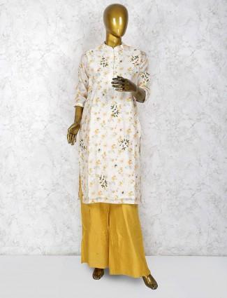 Cream hue cotton festive punjabi palazzo suit