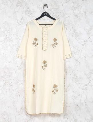 Cream hue festive cotton silk kurti set
