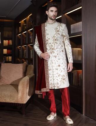Cream hue jamawar wedding function indo western
