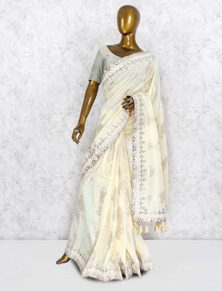 Cream hue lovely saree in silk fabric