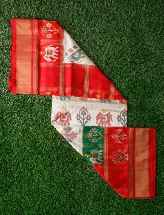Cream hue pretty saree in patola silk