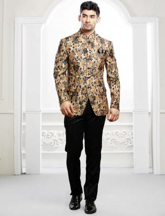 Cream hue printed terry rayon fabric jodhpuri suit