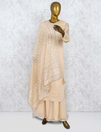 Cream hue punjabi palazzo suit in cotton silk