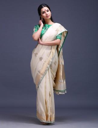 Cream hue pure silk lovely saree
