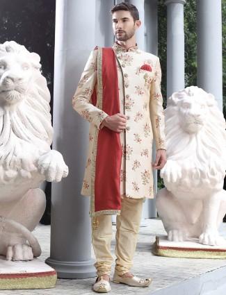 Cream hue raw silk indo western for wedding