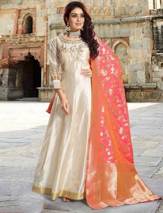 Cream hue raw silk lovely floor length anarkali salwar suit