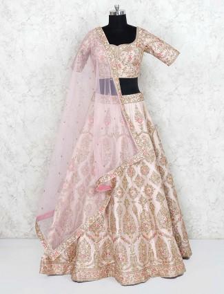 Cream hue silk fabric wedding lehenga choli