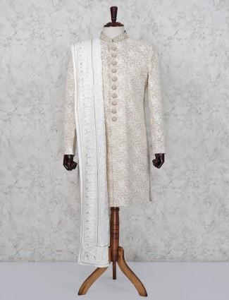 Cream hue terry rayon wedding wear indo western