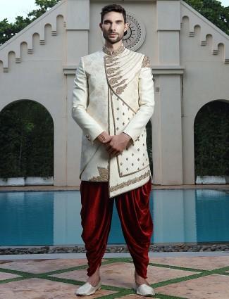 Cream hue wedding function raw silk indo western