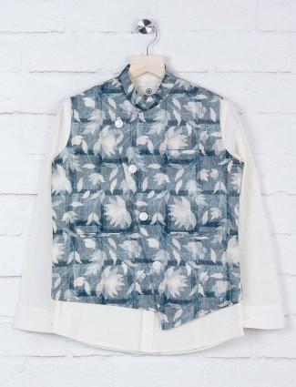 Cream hued cotton fabric printed waistcoat