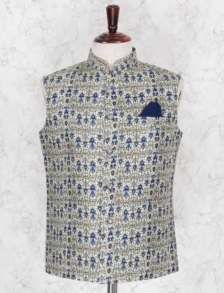Cream hued jute printed waistcoat