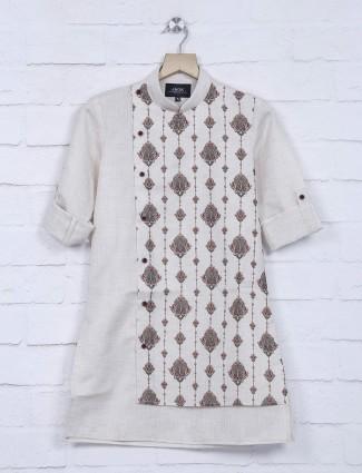 Cream printed boys festive kurta suit