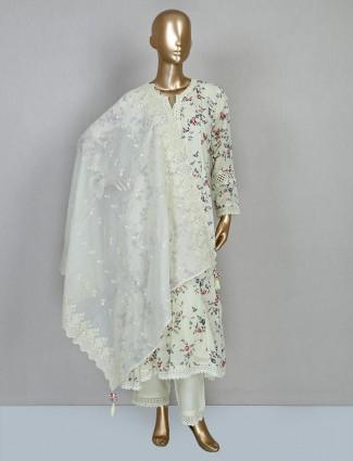 Cream printed cotton punjabi salwar suit design