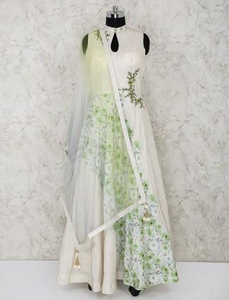 Cream printed cotton silk fabric anarkali suit